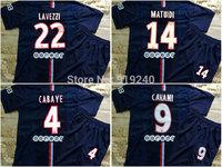 Customize! 14/15 season kids P aris jersey top quality soccer uniforms (Jersey + shorts) Size 16--28