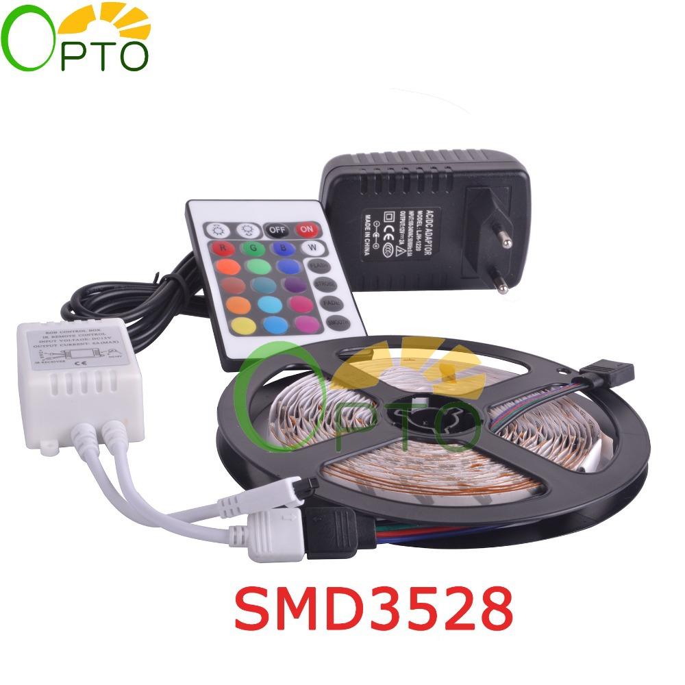 RGB LED strip light SMD 3528 DC 12V flexible light 60LED/m 5m 300LED Power Adapter DC 12V 2A 24 Key Remote Controller(China (Mainland))