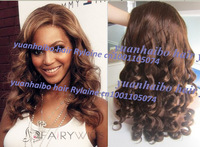 Super Top 6a quality 4# gold brown beyonce body curl virgin malaysian human hair remy front lace wig free shipping