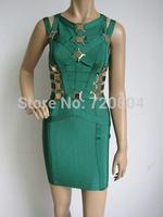 2014 fashion women green metal white black blue  formal party celebrity bandage evening dress daily women dress HL