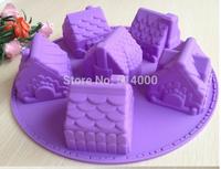 Free shipping 1PCS House Fondant Cake pan Silicone Mold Sugar craft Baking Pan Cake Decoration