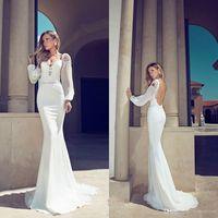 2014 Long Sleeve Chiffon Backless Wedding Bridal Dress Custom Size6 8 10 12 14 +
