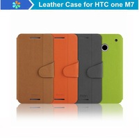 Free Shipping 2014 Newest Ultra-thin Mofi Flip PU Leather Case For HTC one M7 Mobile Phone Case Back Cover