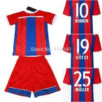 Customize! 14/15 season kids B ayern jersey top quality soccer uniforms (Jersey + shorts) Size 16--28