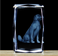 New Arrial !Freeshipping Wholesale 5*5*8cm 3D laser engraved Crystal image animal series dog souvenir gift home decoration