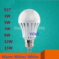 LED Bulb E27 3W 5W 7W 9W 12W 15W LED Bulbs 5630 220V-240V LED Lamp Cold White LED Light Warm White Lampada LED Lights Free Ship