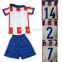 Customize! 14/15 season kids A tletico Madrid jersey top quality soccer uniforms (Jersey + shorts) Size 16--28