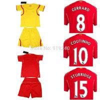 Customize! 14/15 season kids Gerrard jersey top quality soccer uniforms (Jersey + shorts) Size 16--28