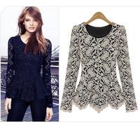 Wholesale 2014 New Arrival Elegant Women Long Sleeve O-Neck Lace Peplum Blouse Top Black Shirts 070449