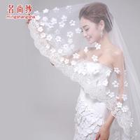 Free Shipping New Arrival Wedding Veil Wedding Accessories Romantic Flower Wedding Veils Long 175cm.