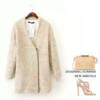 women's cashmere coat Promotion 2014 NEW woolen coat woman jacket winter overcoat solid clothes Woollen coat female long outwear