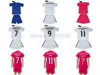 Customize! 14/15 season kids Real Madrid jersey top quality soccer uniforms (Jersey + shorts) Size 16--28