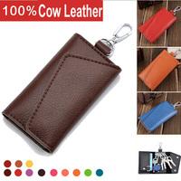 ACL-503 New Arrival Men's Genuine Cow Leather Purse Car Key Wallets Fashion Women Housekeeper Holders Wholesale 2pcs/lot