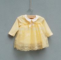 Free shipping 2014 new autumn polka dot newborn baby girls dress long-sleeve baby dress kids clothes infant girls princess dress