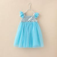 New 2014 Snow Romance Children's Clothing No Sleeve Chiffon Girls Frozen Princess Dress