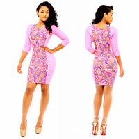 Presale!long sleeve  fashion sexy print  knee length women summer bodycon prom  dresses y129
