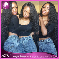 130% Density Grade 6A #1b brazilian human hair deep curly lace front wig with natural hairline for afro women
