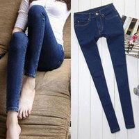 Korean Fashion Denim Jeans for Women Pencil Pants Skinny Capris Female Dark Blue Large Size PA81937