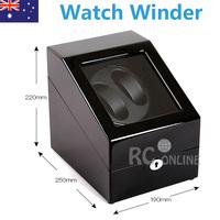Dual Black Piano wood Automatic Watch Winder Display Box 2 + 3 Leather storage JAPANESE MABUCHI MOTOR