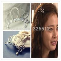 2pcs/lot Charm Lady Silver Plated Clear Rhinestone Fake Pearl Crystal zircon Drop Head Hair Clip Clamp Hairpin Barrettes Wedding