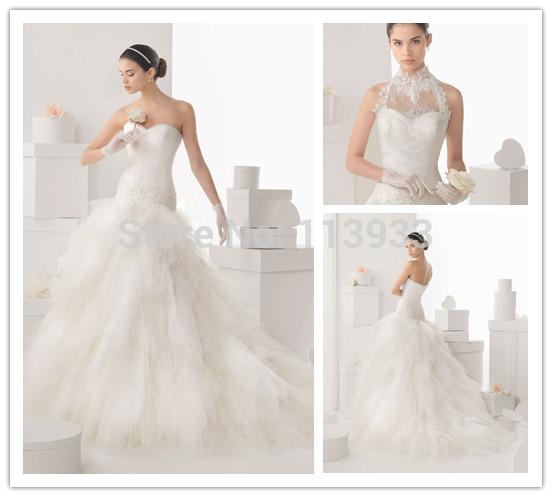 2015 Romantic High Neck Crystals Lace Sheer Jacket Backless Ruched Ruffles Vestidos de novia Wedding Dress Ball Gown Custom Made(China (Mainland))