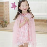 New 2014 Korean Children's Clothing Pink Girls Lace Snowflake Frozen  Princess Dress