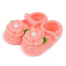 Manual Acrylic Fibers Newborn Baby Infant Girls Crochet Knit Socks Crib Shoes Size 0-12 Months Drop Shipping BB-136(China (Mainland))