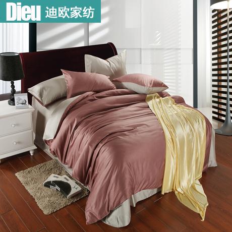 Expedições Dieu têxtil lar lençol da cama capa de edredão moda de luxo cor sólida pedaço tencel definir cinza prata(China (Mainland))