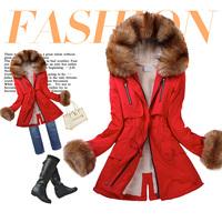 Free Shipping New Fashion 2014 Female Slim Fur Collar Thickening Fleece Coat Plus Size Cotton-Padded Parka Winter Jacket Women