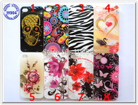 Bulk Price Coloful Flowers Skull Butterfly Rose Zebra Mix Design Cover For iPhone 4 4S Case Silicone TPU Soft Shell DHL Shipping
