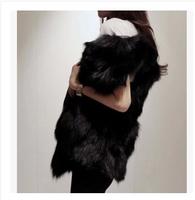 2014 faux fox fur medium-long outerwear women's vest XL-6XL