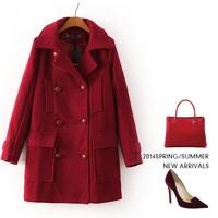 Double breasted pocket women's cashmere coat 2014 NEW woolen coat woman jacket winter overcoat Woollen coat female long outwear