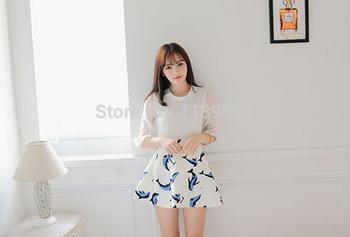 Free Shipping Korean Style Fashion Skirt, New Pretty Girls Dolphins printing Skirt,Stylish High Empire Print Short Skirt