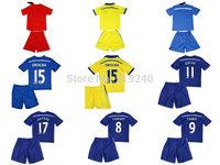 Customize! 14/15 season kids Chelsea jersey top quality soccer uniforms (Jersey + shorts) Size 16--28