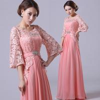 2014Pink double-shoulder longsleeve lace bridal evening dress red evening dress plus size long design saias femininas sister hot