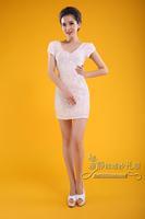 2014 New latest  Sequined dress bag hip short paragraph Paillette fashion slim short design evening dress formal dress short