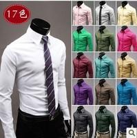 Mens Fashion Casual Bodycon Shirt 17 colors plus size XXXL hot slim brief long sleeve men's shirts