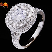 New Arrival Shiny ring White gold plated rings for women wedding engagement rings free shipping