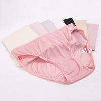 2pieces Women's knitted silk briefs mulberry silk  mid waist panties M L XL Black Light Pink 8colors