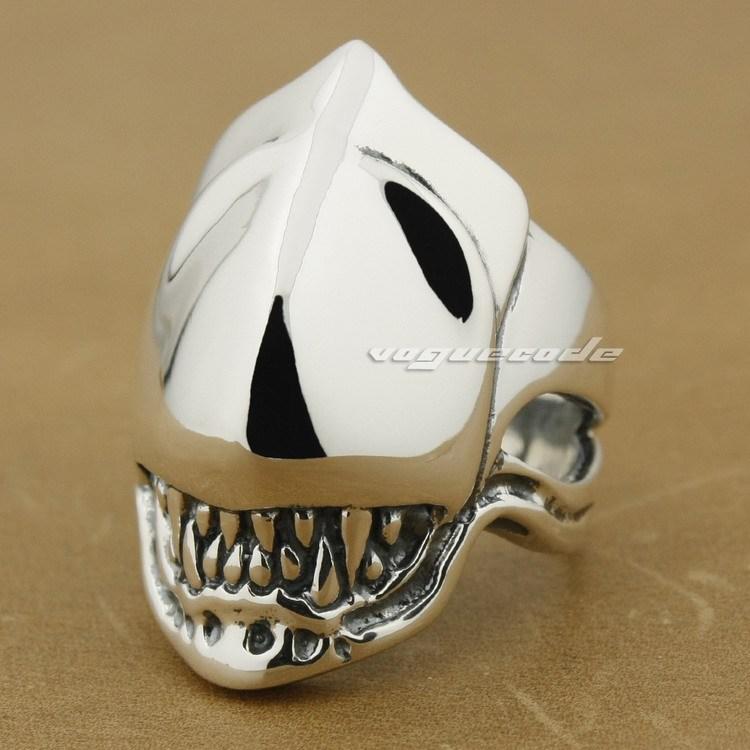 925 Sterling Silver Alien Fang Skull Mens Biker Ring 8S008(China (Mainland))