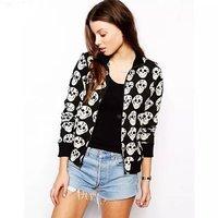 Free shipping!2014 autumn fashion design skull print design long-sleeve short outerwear jacket female top leisure