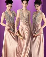 2014 Fashion design long evening dress Formal dress up games prom dress V-neck sexy halter-neck train slim red carpet dresses