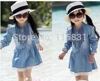 2014 girls denim skirt dress Children thin long sleeve short sleeve cowboy princess