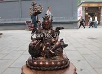 Tibet Buddhism Fane Pure Red Bronze Copper Jambhala Vaishravana Buddha Statue FREE Shipping