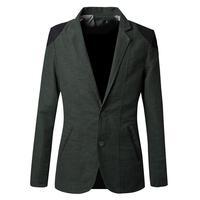 High Quality Men's Oxford silk outerwear suit coat color block decoration casual suit for man