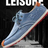 Male fashion denim canvas shoes casual shoes men summer breathable Moccasins Men shoes trend