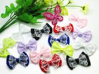 Free Shipping 40pcs Mixed Satin Ribbon Bow Flowers Sewing Wedding Decoration Bowknot Craft Appliques DIY Scrapbooking B00135