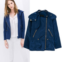 Free shipping  2014 hot sale girls Autumn Winter Branded White/navy Blue Color Casual Trench  Womens Ladies  coat