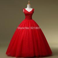 Red wedding dress bridal fashion Korean version of the new 2015 V-neck lace straps wedding dresses vestido de festa 432
