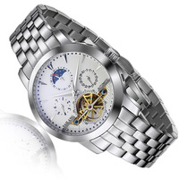 2014 New Real Water Proof Stainless Steel Luxury Sapphire Automatic Mechanical Wrist Watch Day Date Moon Phase Watches  010
